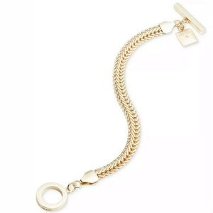 Anne Klein Gold Flat Flex Chain Toggle Bracelet